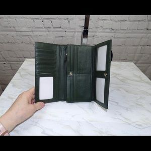 Forest green leather NEW wallet